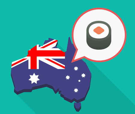 Illustration of a long shadow Australia map, its flag and a comic balloon with a piece of sushi maki