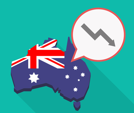 Illustration of a long shadow Australia map, its flag and a comic balloon with a descending graph