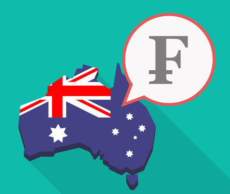 Illustration of a long shadow Australia map, its flag and a comic balloon with a swiss franc sign Illustration