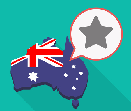 Illustration of a long shadow Australia map, its flag and a comic balloon with a star
