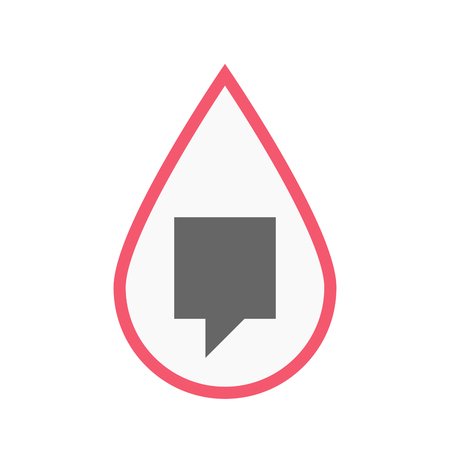 Illustration of an isolated line art blood drop with a tooltip