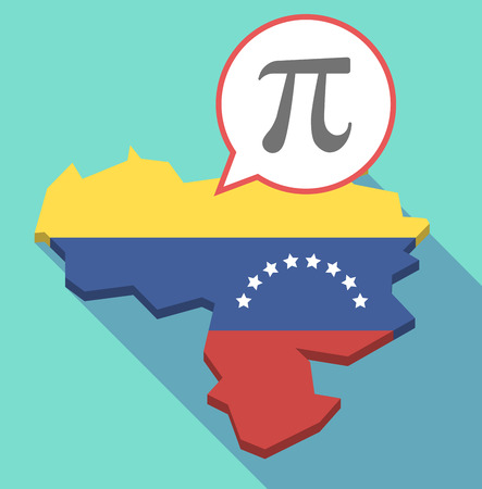 Illustration of a long shadow Venezuela map, its flag and a comic balloon with the number pi symbol