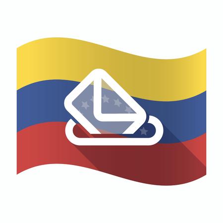 official ballot: Illustration of an isolated Venezuela waving flag with  a ballot box
