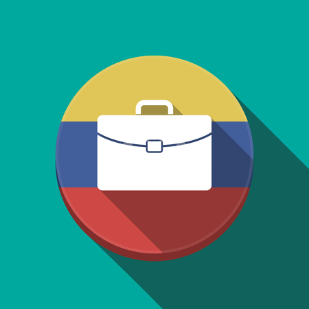 venezuelan flag: Illustration of a long shadow Venezuela rounded button with  a briefcase