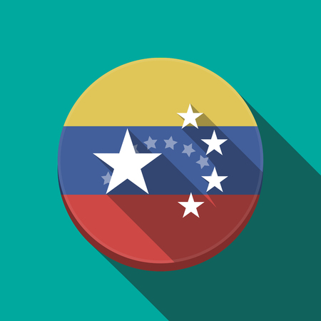 Illustration of a long shadow Venezuela rounded button with  the five stars china flag symbol Illustration
