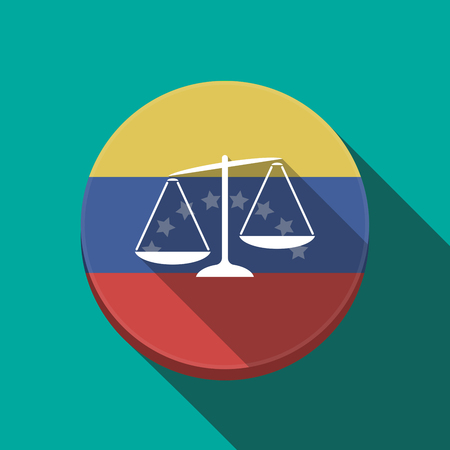 Illustration of a long shadow Venezuela rounded button with  an unbalanced weight scale Çizim