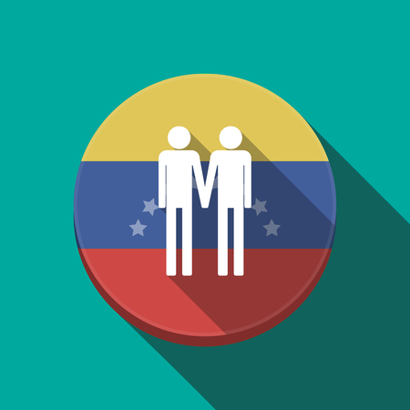 Illustration of a long shadow Venezuela rounded button with a gay couple pictogram