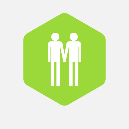 wedding couple: Illustration of an isolated hexagon button with a gay couple pictogram