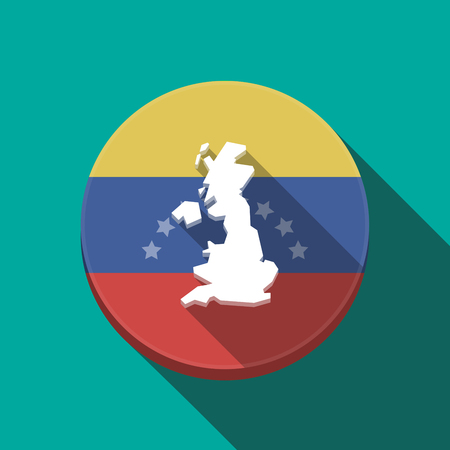 Illustration of a long shadow Venezuela rounded button with  a map of the UK