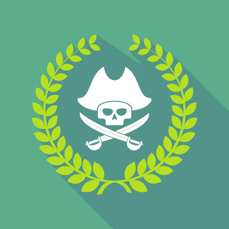 skull and crossed bones: Illustration of a long shadow laurel wreath with a pirate skull Illustration
