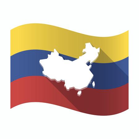 Ilustración de una bandera aislada de Venezuela que agita con un mapa de China Vectores