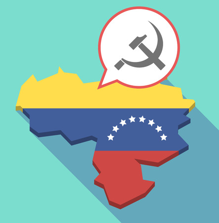 Illustration of a long shadow Venezuela map, its flag and a comic balloon with  the communist symbol