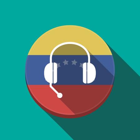 Ilustración de una larga sombra Venezuela redondea el botón con un dispositivo de manos libres
