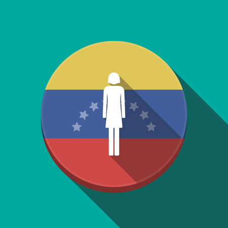 Illustration of a long shadow Venezuela rounded button with a female pictogram Illustration