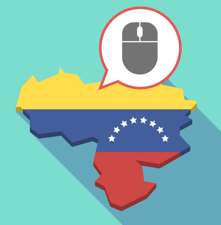 Illustration of a long shadow Venezuela map, its flag and a comic balloon with a wireless mouse Illustration