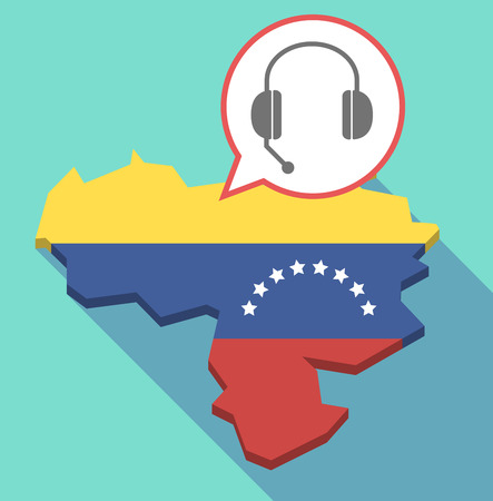 Illustration of a long shadow Venezuela map, its flag and a comic balloon with  a hands free phone device