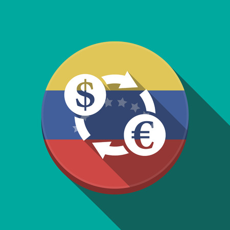 Illustration of a long shadow Venezuela rounded button with a dollar euro exchange sign
