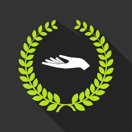 palm wreath: Illustration of a long shadow laurel wreath with a hand offering Illustration