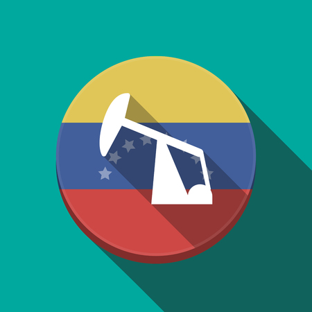 Illustration of a long shadow Venezuela rounded button with a horsehead pump Illustration