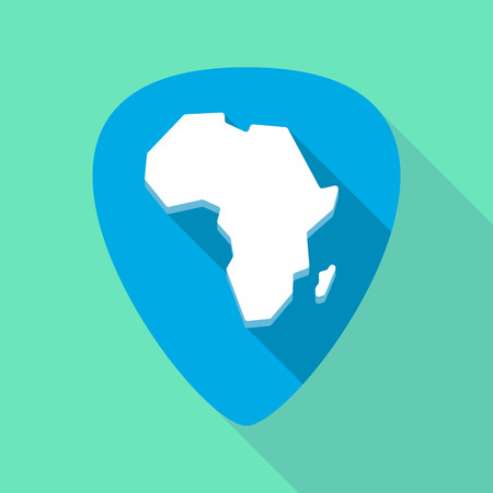 Illustration of a long shadow guitar pick with  a map of the african continent
