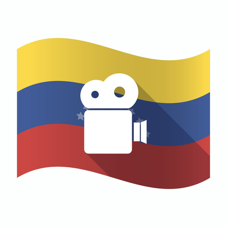 Illustration of an isolated Venezuela waving flag with a film camera