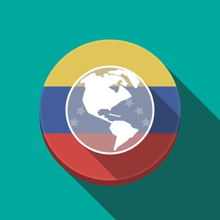 Ilustración de una larga sombra Venezuela redondeó el botón con un globo del mundo América región Vectores