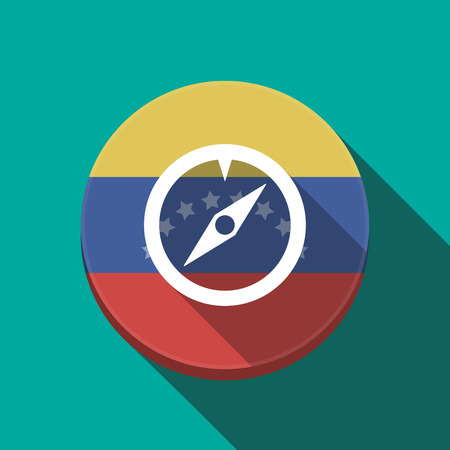 Illustration of a long shadow Venezuela rounded button with a compass