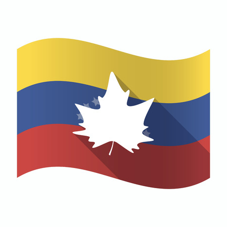 Illustration of an isolated Venezuela waving flag with an autumn leaf tree