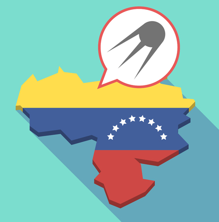 Illustration of a long shadow Venezuela map, its flag and a comic balloon with a vintage satellite Illustration