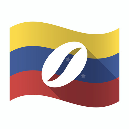 Illustration of an isolated Venezuela waving flag with a coffee bean