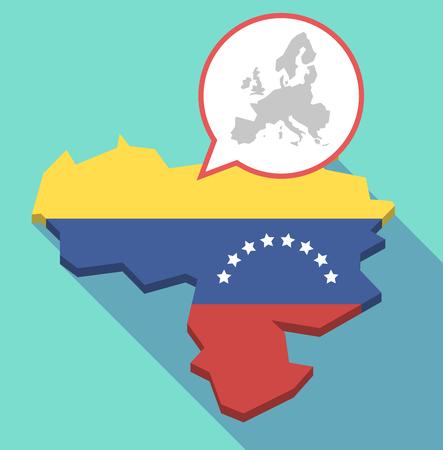 Ilustración de una larga sombra Mapa de Venezuela, su bandera y un globo de cómic con un mapa de Europa