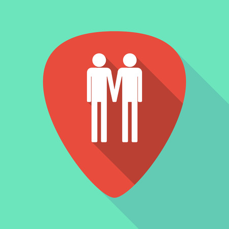 Illustration of a long shadow guitar pick with a gay couple pictogram