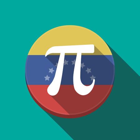 Illustration of a long shadow Venezuela rounded button with the number pi symbol