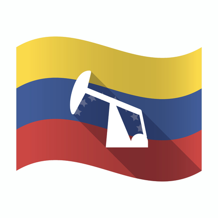 Illustration of an isolated Venezuela waving flag with a horsehead pump Illustration