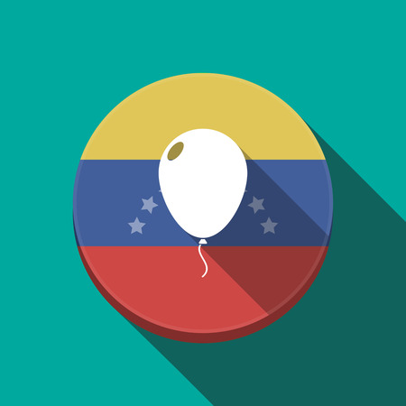 Illustration of a long shadow Venezuela rounded button with a balloon Illustration