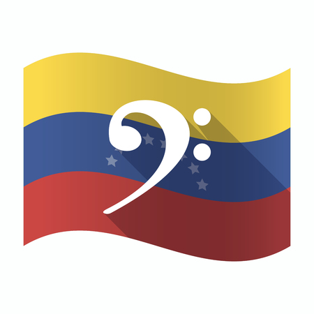 Illustration of an isolated Venezuela waving flag with an F clef Illustration