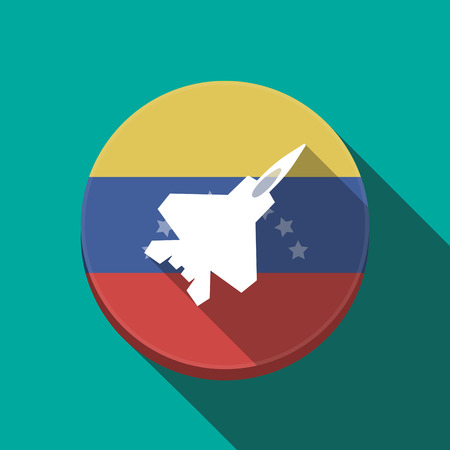 Illustration of a long shadow Venezuela rounded button with a combat plane