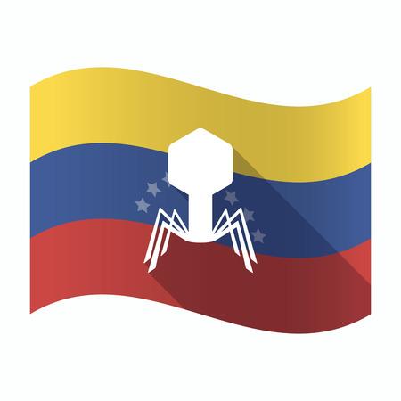 Ilustración de una bandera aislada de Venezuela ondeando con un virus