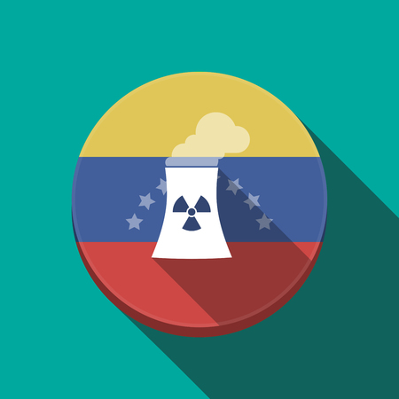 radioactive sign: Illustration of a long shadow Venezuela rounded button with a nuclear power station