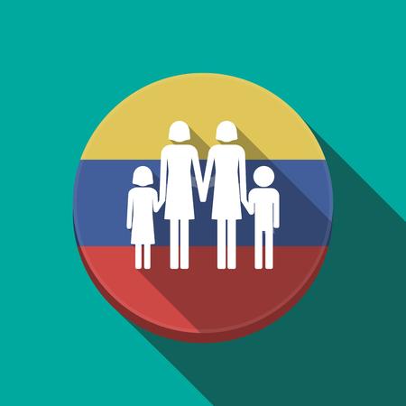Ilustración de una larga sombra Venezuela redondeó el botón con un pictograma familiar de padres lesbianas