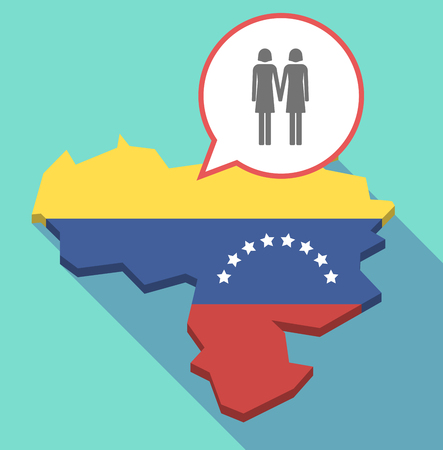 Illustration of a long shadow Venezuela map, its flag and a comic balloon with a lesbian couple pictogram Illusztráció