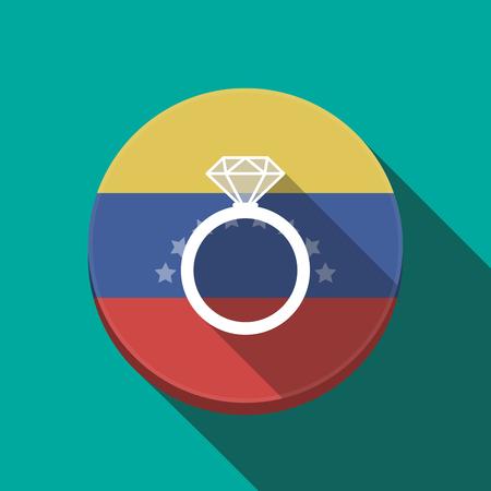 Ilustración de una larga sombra Venezuela redondeó el botón con un anillo de compromiso Vectores