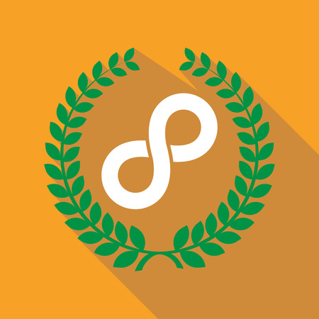 Illustration of a long shadow laurel wreath with an infinite sign