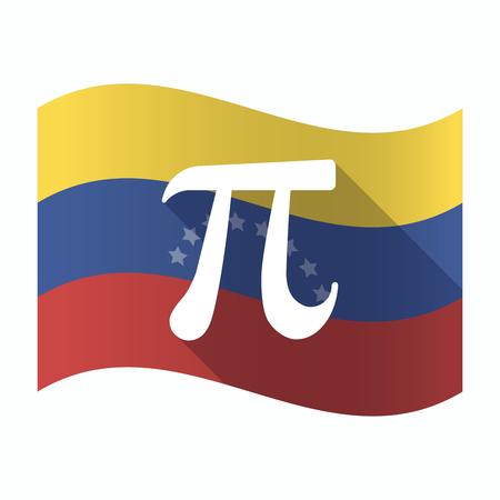 Illustration of an isolated Venezuela waving flag with the number pi symbol Illustration
