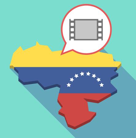 Ilustración de un mapa de Venezuela de larga sombra, su bandera y un globo de cómic con un fotograma de película Vectores