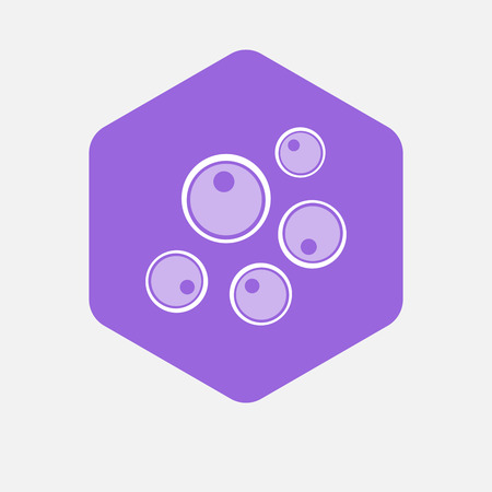 Illustration of an isolated hexagon button with oocytes