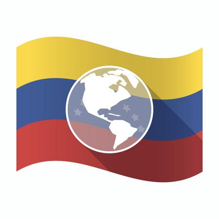 Illustration of an isolated Venezuela waving flag with an America region world globe