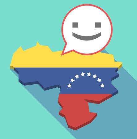 bandera de venezuela: Ilustración de un mapa de Venezuela de larga sombra, su bandera y un globo de cómic con una cara de texto de sonrisa Vectores