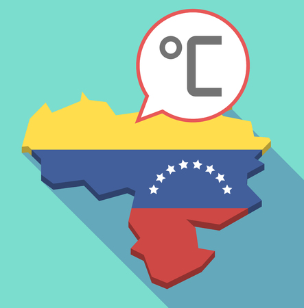 Illustration of a long shadow Venezuela map, its flag and a comic balloon with  a celsius degree sign