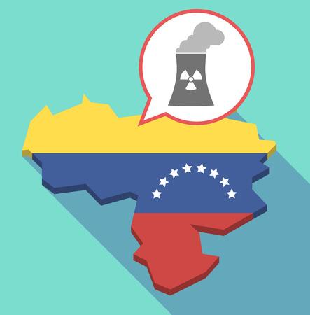 Ilustración de una larga sombra Mapa de Venezuela, su bandera y un globo de cómic con una central nuclear
